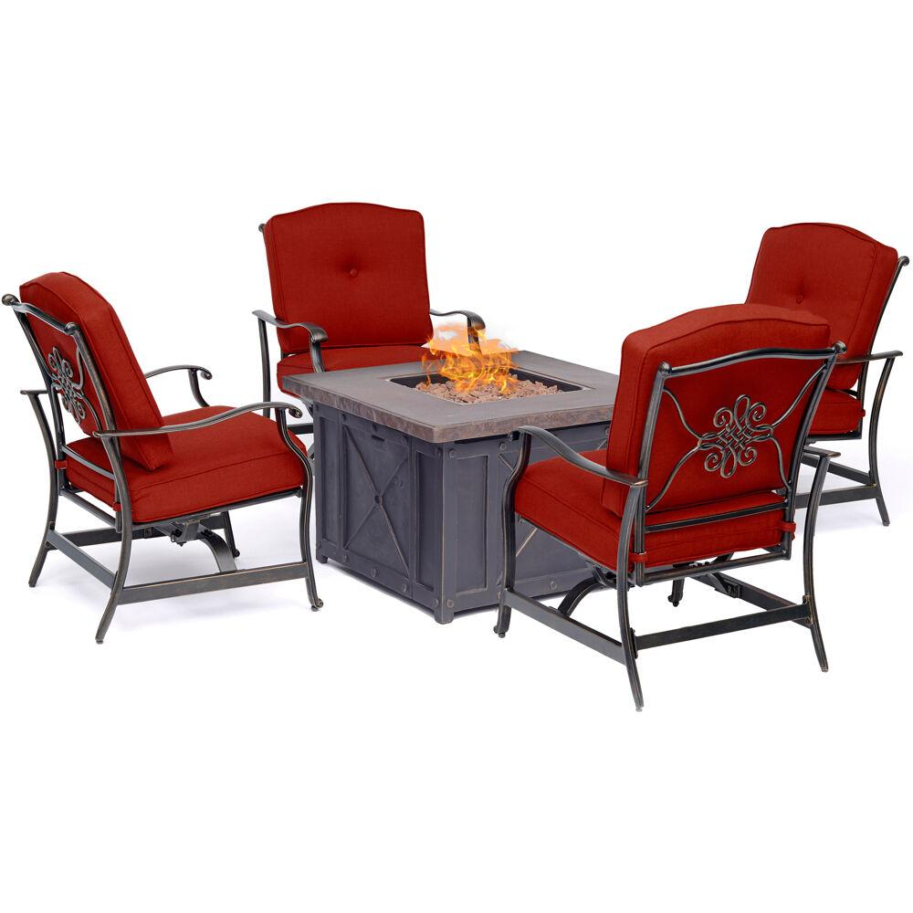 Hanover Summer Nights 5-Piece Steel Patio Fire pit Seating ...