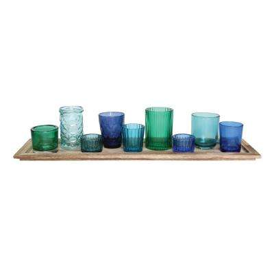 Blue and Green Glass Candle Holders on a Wood Tray (Set of 9)