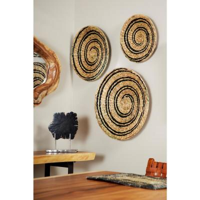 Rustic Natural and Black Spiral Design Circular Wicker Trays (Set of 3)