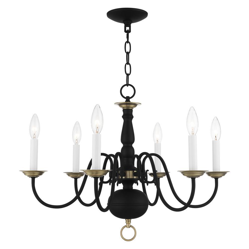 Williamsburg 6 Light Black with Antique Brass Accents Chandelier