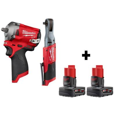 M12 FUEL 12-Volt Lithium-Ion Brushless Cordless Stubby 3/8 in. Impact Wrench & 3/8 in. Ratchet with two 3.0 Ah Batteries