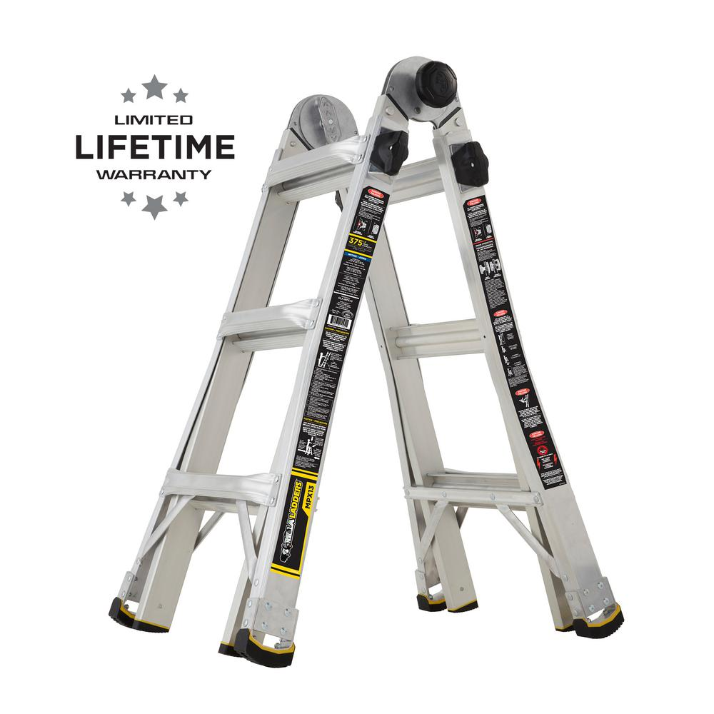 Gorilla Ladders 14 ft  Reach MPX Aluminum Multi-Position Ladder with 375  lb  Load Capacity Type IAA Duty Rating
