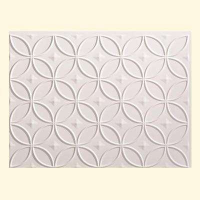 24 in. x 18 in. Rings PVC Decorative Backsplash Panel in Matte White