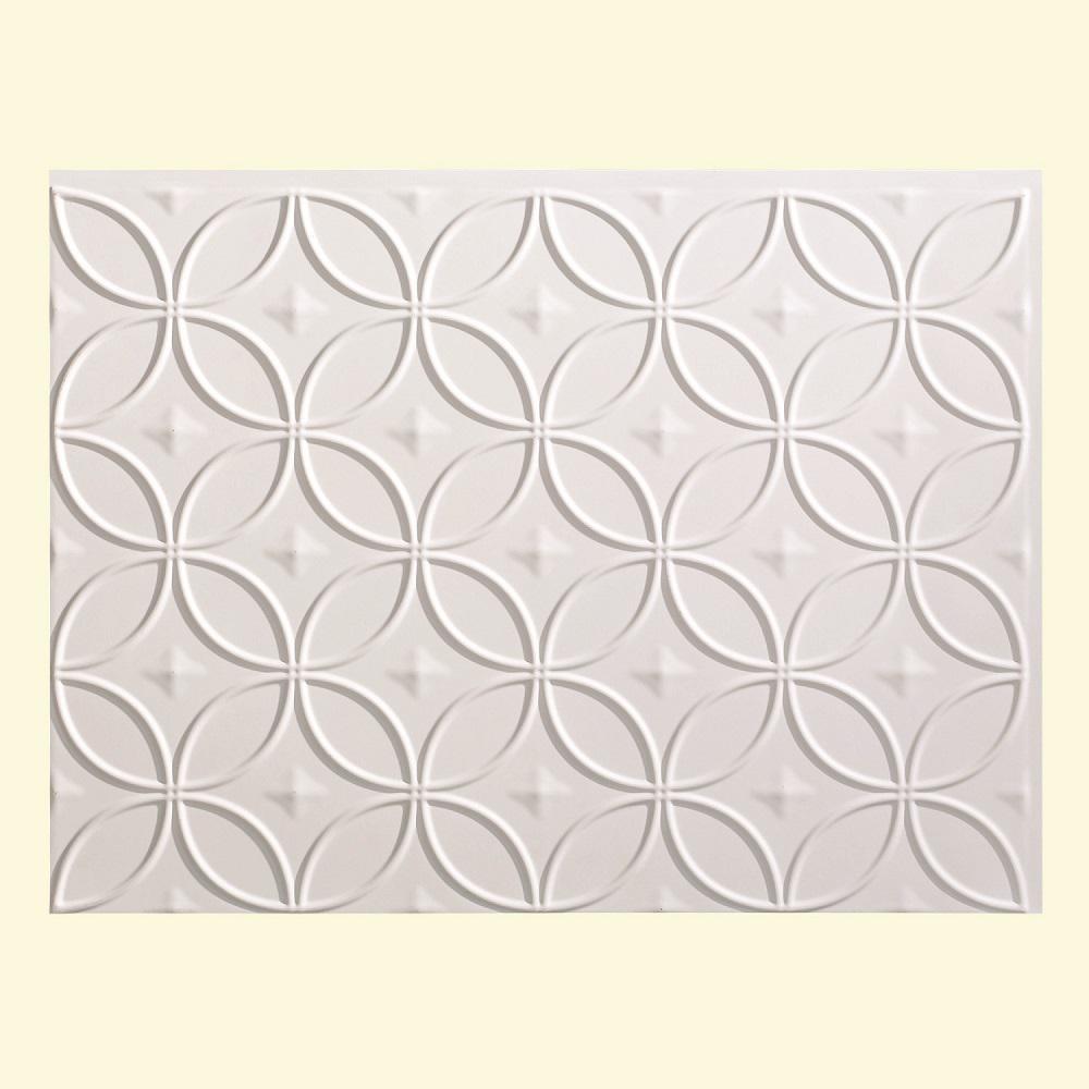 24 in. x 18 in. Rings PVC Decorative Backsplash Panel in Matte White