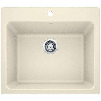 Liven 25 in. x 22 in. x 12 in. Granite Undermount Laundry Sink in Biscuit
