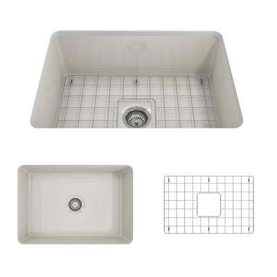 Sotto Undermount Fireclay 27 in. Single Bowl Kitchen Sink with Bottom Grid and Strainer in Biscuit
