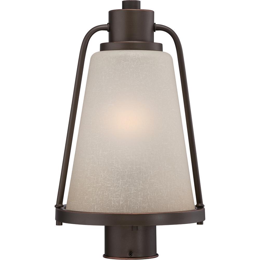 1-Light Outdoor Mahogany Bronze Integrated LED Post Light