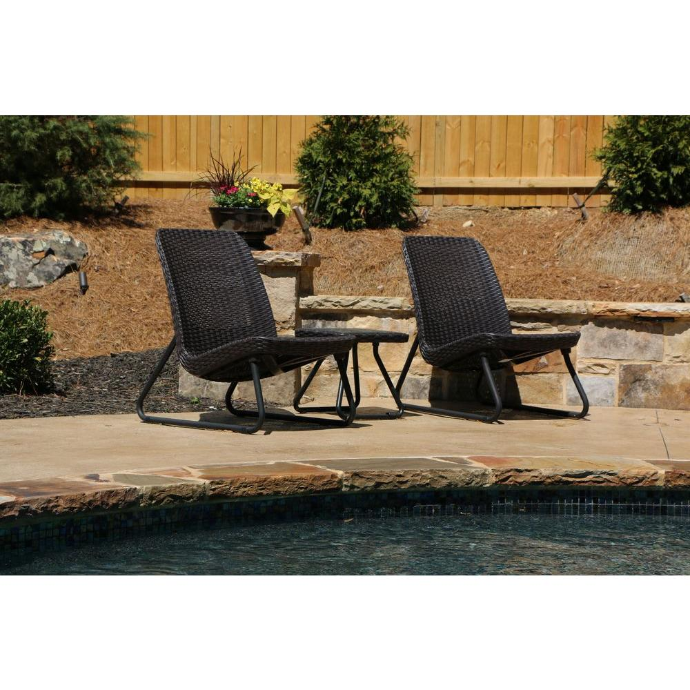Keter rio brown 3 piece all weather patio seating set 212867 the home depot Model home furniture auction mn