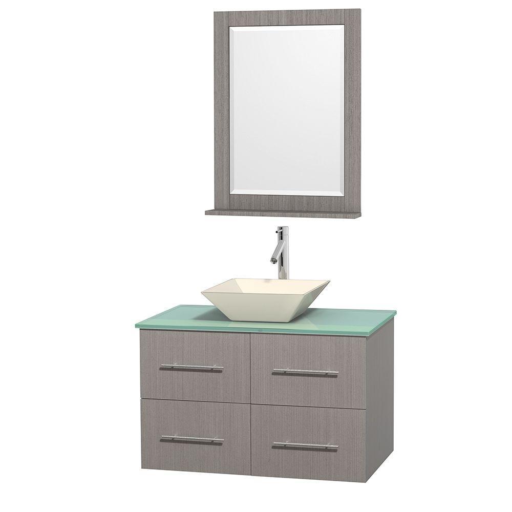 Centra 36 in. Vanity in Gray Oak with Glass Vanity Top