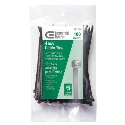 4 in. UV Cable Tie, Black (100-Pack)