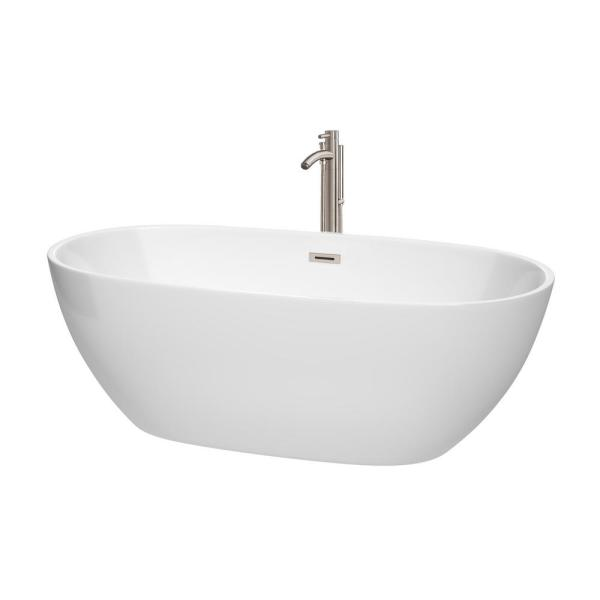 Juno 5.6 ft. Acrylic Flatbottom Non-Whirlpool Bathtub in White with Brushed Nickel Trim and Faucet