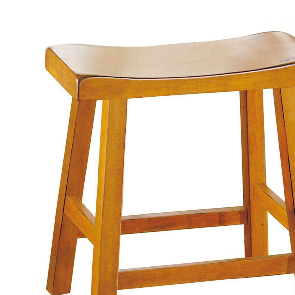 Sensational Benjara 18 In Oak Brown Counter Height Stool With Saddle Machost Co Dining Chair Design Ideas Machostcouk