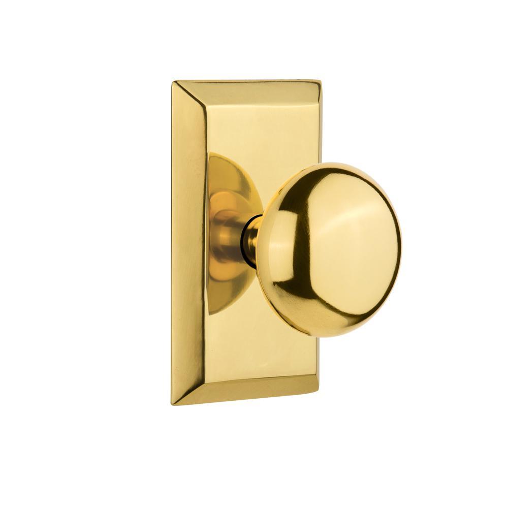 Studio Plate Double Dummy New York Door Knob in Polished Brass