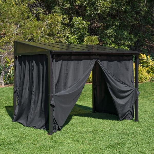 Royal Garden 8 Ft X 9 Ft Steel And Aluminum 3 Sided Wall Mounted Gazebo Gfm00747a The Home Depot