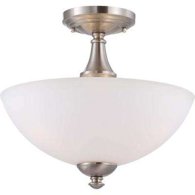 Elektra 3-Light Brushed Nickel Semi-Flush Mount Light with Frosted Glass