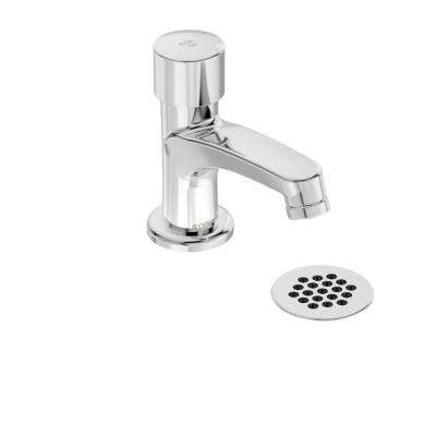 SCOT Single Hole Single-Handle Metering Bathroom Faucet with Grid Drain in Chrome