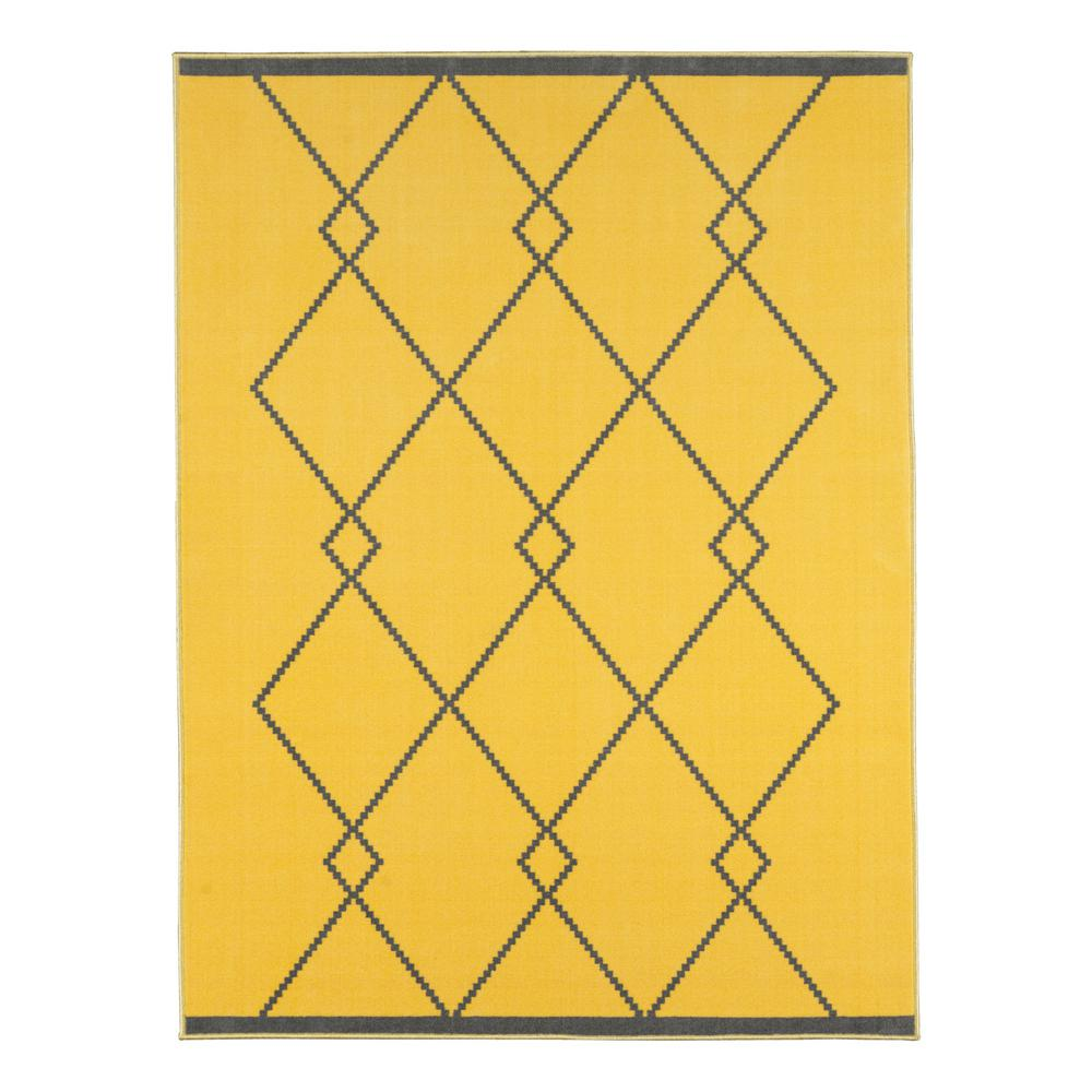 Ottomanson Studio Collection Diamond Trellis Design Black 3 ft. x 5 ft. Non-Skid Area Rug