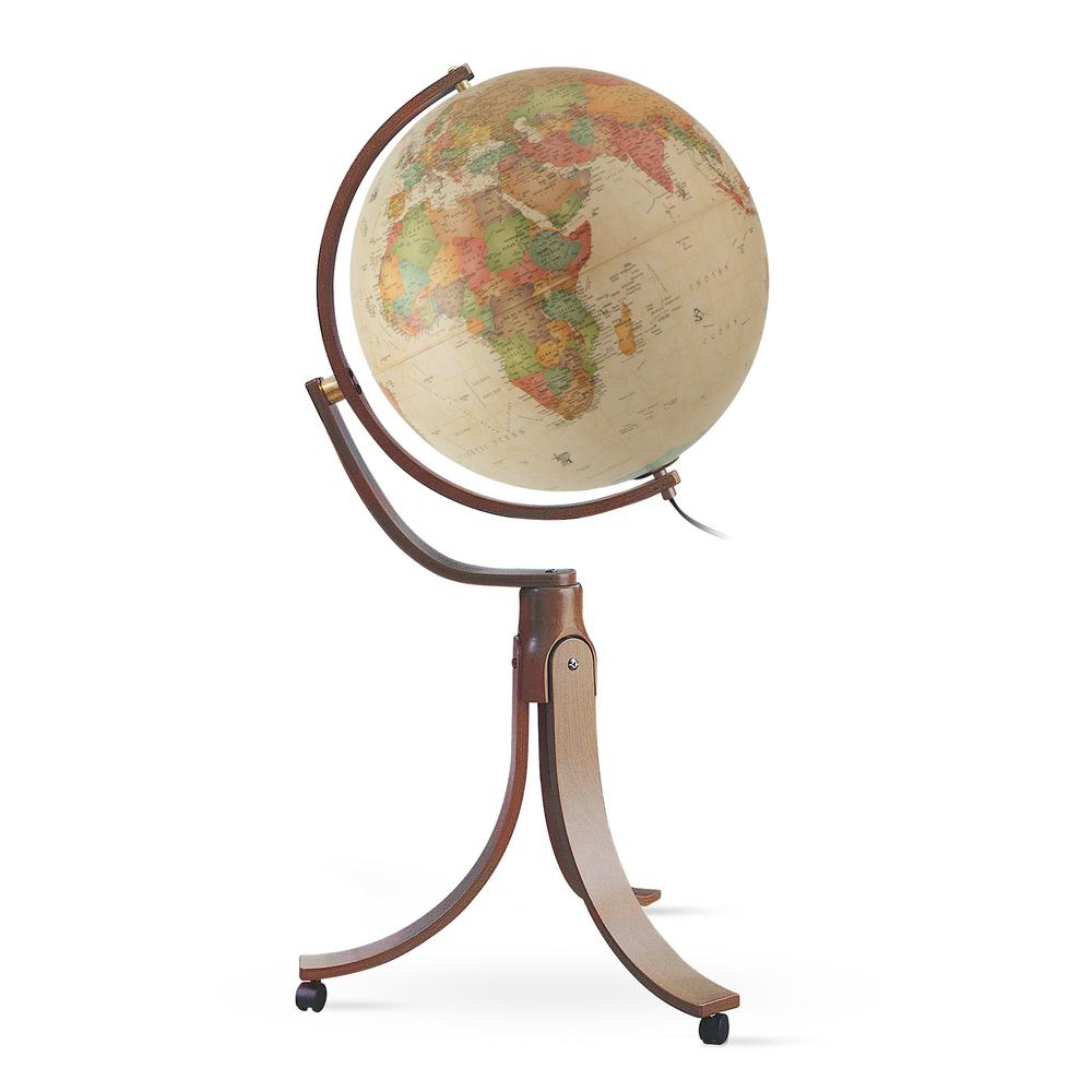 Waypoint Geographic Emily 20 in. Illuminated Floor Standing Globe in Antique The Emily Antique Ocean style globe is mounted with a unique full gyromatic mount allowing the globe to be turned in any direction for a full view of the globe. The detailed cartography perfectly blends with the wood inner arched stand with 1,000s of point of interest.This globe includes illumination with an inline on/off switch. The illumination adds a brighter view of the globe making the cartographic features stand out even more. The stand also is mounted with casters, making it convenient to move without having to pick it up.