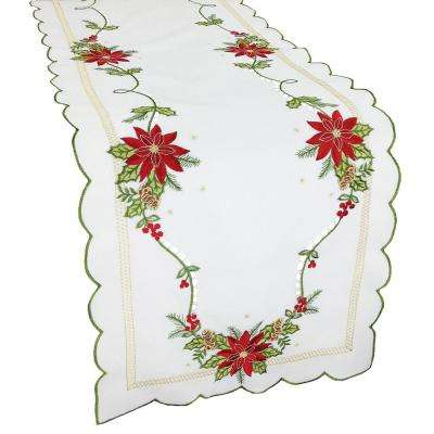 15 in. x 54 in. Scrolling Poinsettia Embroidered Cutwork Table Runner