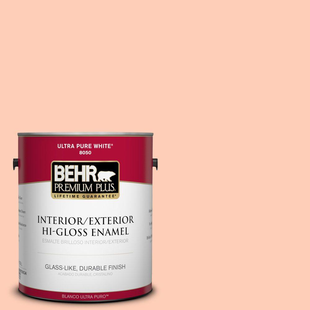 BEHR Premium Plus 1-gal. #230A-3 Apricot Lily Hi-Gloss Enamel Interior/Exterior Paint