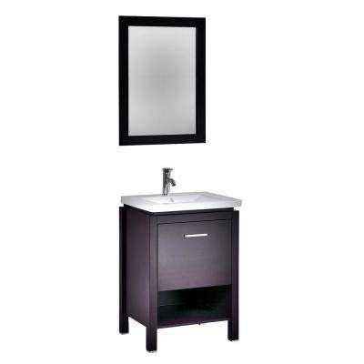 Monterey 24 in. W x 19 in. D x 34 in. H Vanity in Espresso with Integrated Porcelain Vanity Top in White and Mirror