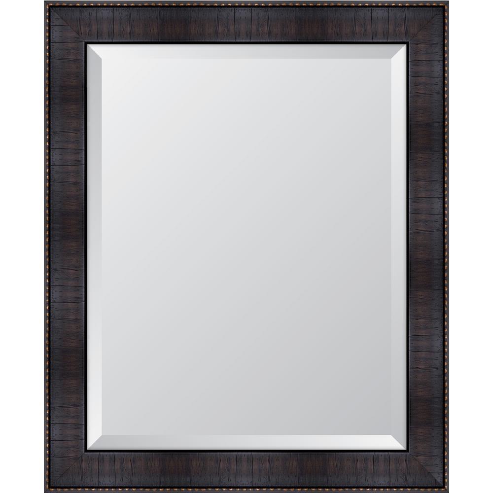 Medium Rectangle Espresso Beveled Glass Classic Mirror (28 in. H x 34 in. W)