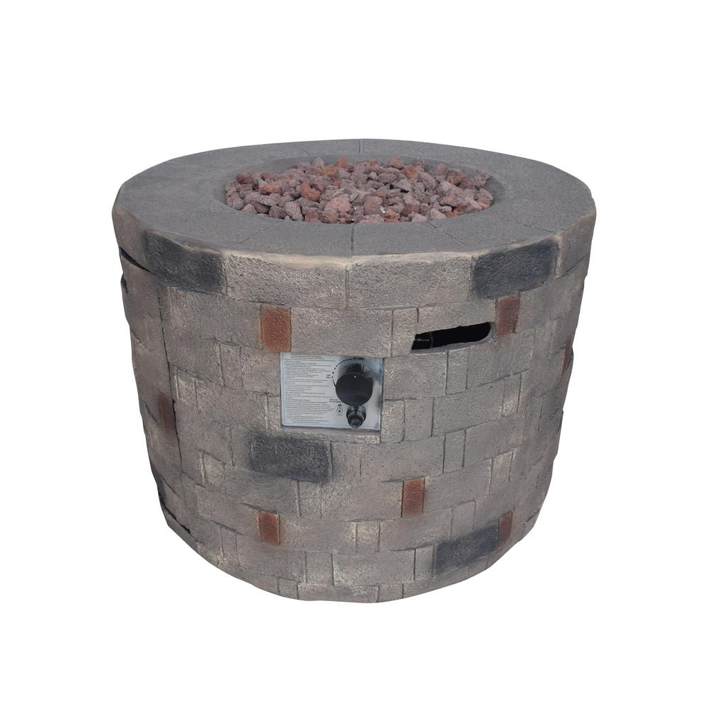 Noble House Cameron 32 in. x 23 in. Circular Concrete Propane Fire Pit in Brown