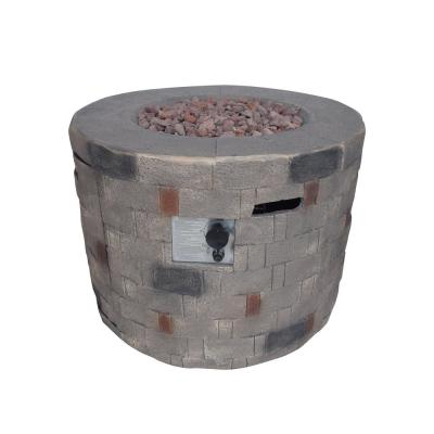 Cameron 32 in. x 23 in. Circular Concrete Propane Fire Pit in Brown