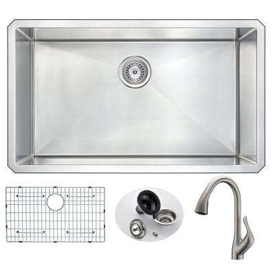 VANGUARD Undermount Stainless Steel 32 in. 0-Hole Single Bowl Kitchen Sink with Accent Faucet in Brushed Nickel