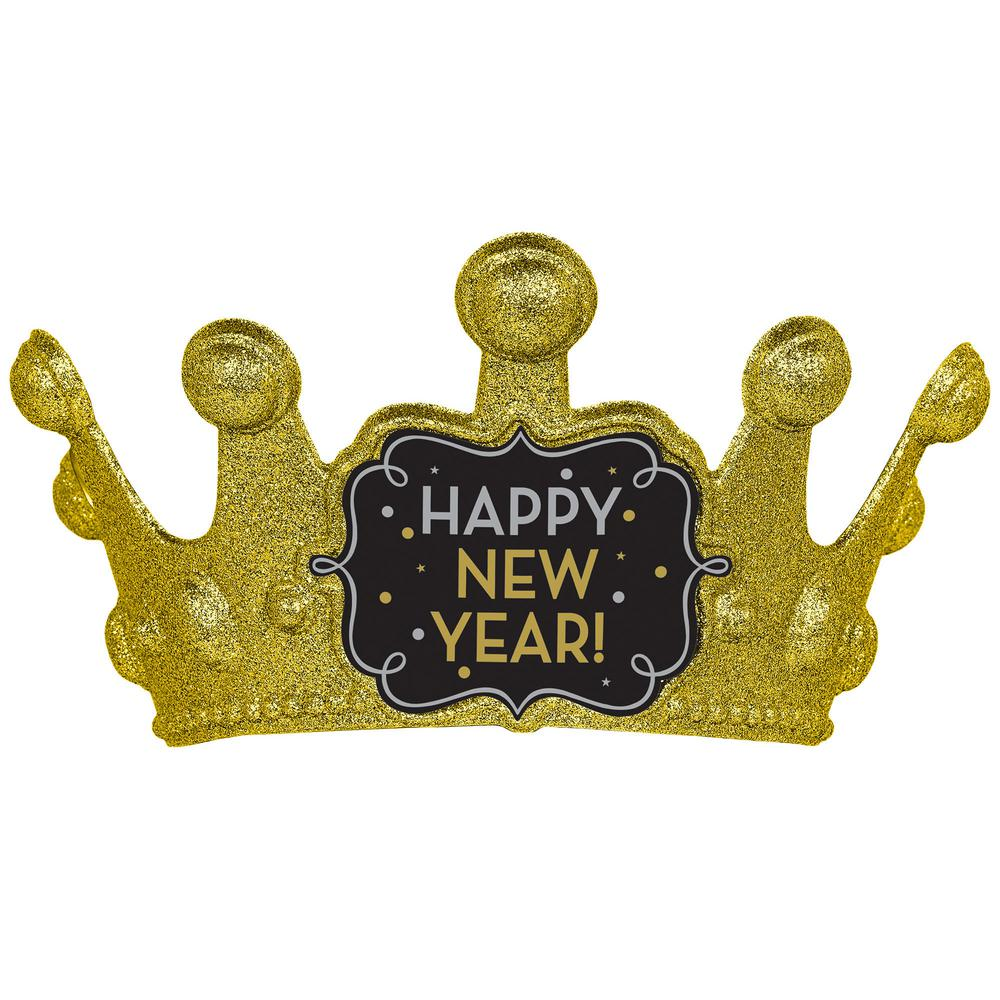 AMSCAN New Year's 5.25 in. Black Silver and Gold Glitter ...