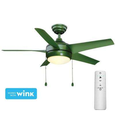 Windward 44 in. LED Green Smart Ceiling Fan with Light Kit and WINK Remote Control