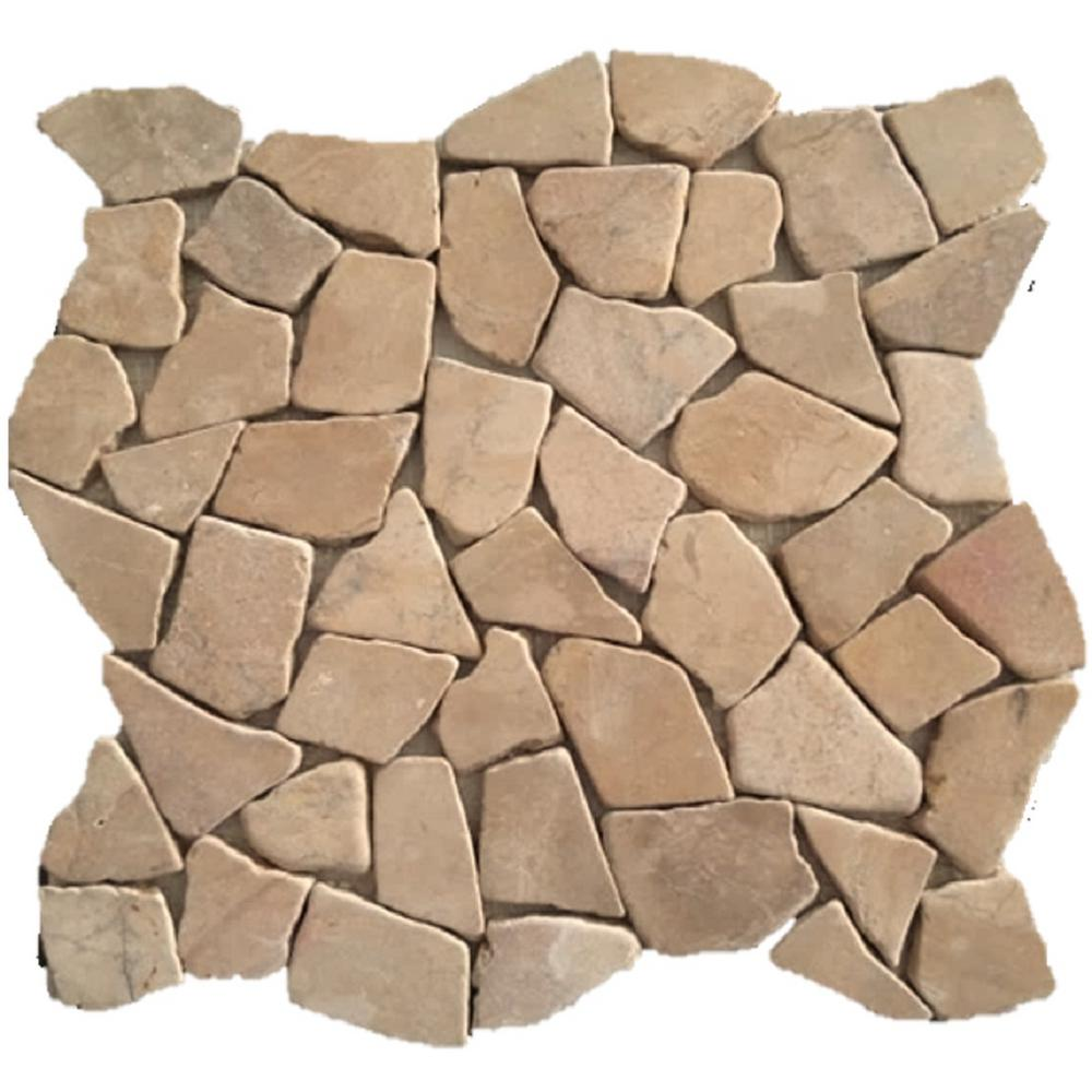 Rain Forest 12 in. x 12 in. Tan Stone Mosaic Pebble Floor and Wall Tile (5.0 sq. ft. / case)