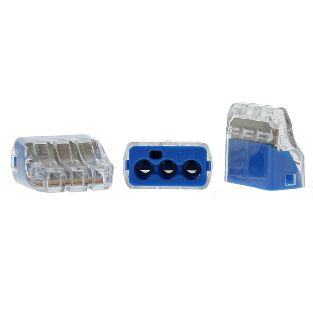 In sure push in wire connector 10 awg 3 port 150 jar
