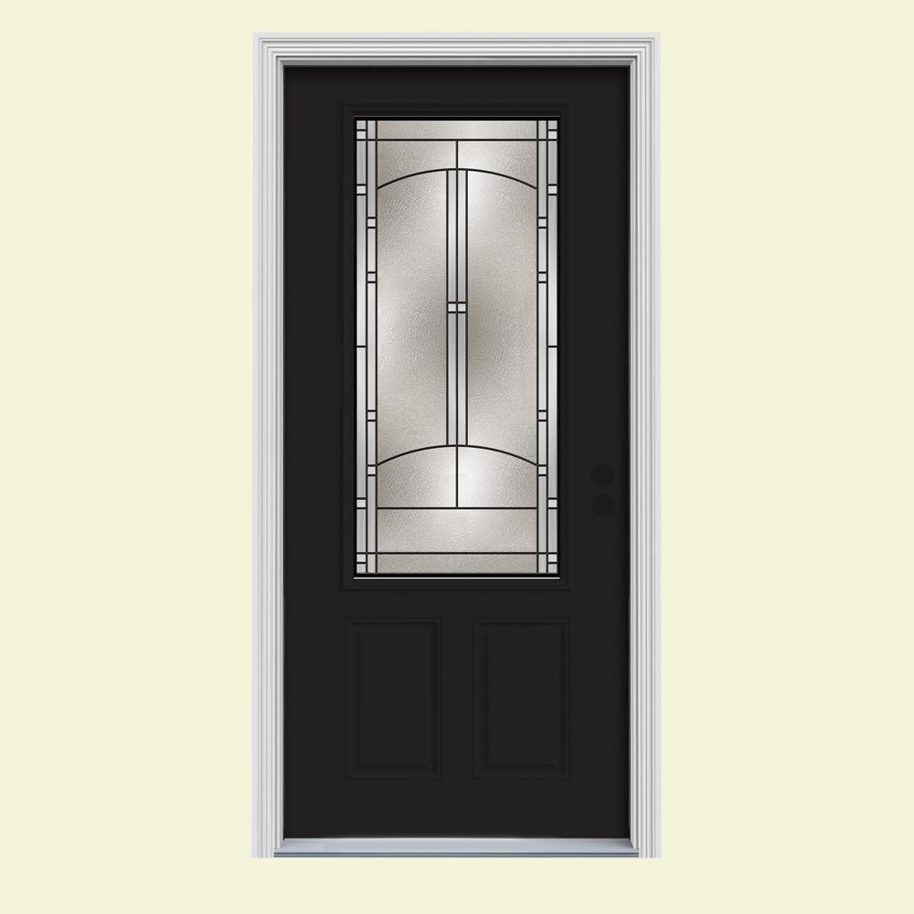 34 in. x 80 in. 3/4 Lite Idlewild Black w/White Interior