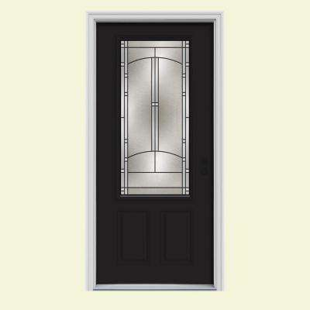 34 in. x 80 in. 3/4 Lite Idlewild Black w/White Interior Steel Prehung Left-Hand Inswing Front Door w/Brickmould