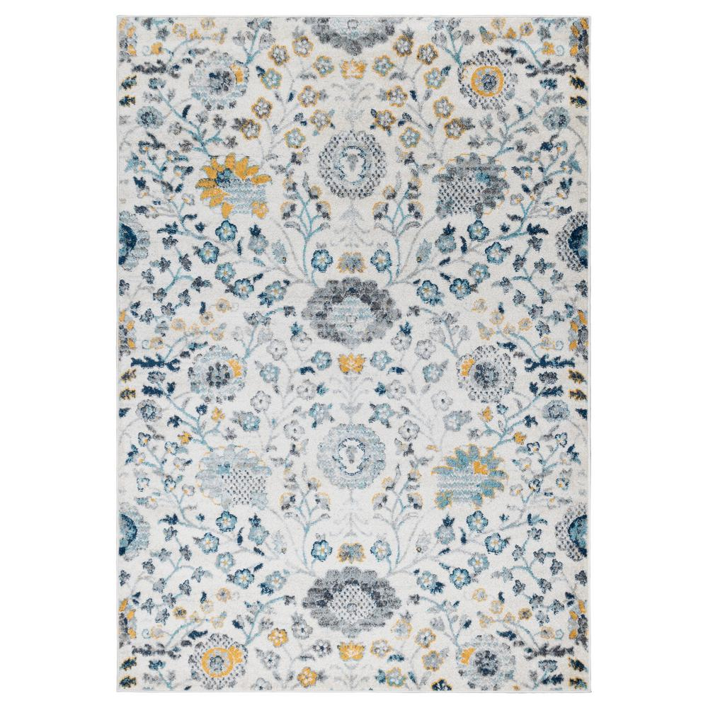 Ottomanson Ottomanson Rixos Collection Ivory 5 ft. 3 in. x 7 ft. Modern Distressed-Look Floral Design Area Rug