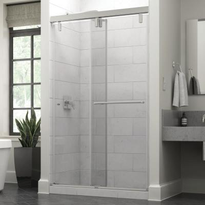 Portman 48 x 71-1/2 in. Frameless Mod Soft-Close Sliding Shower Door in Nickel with 3/8 in. (10mm) Clear Glass