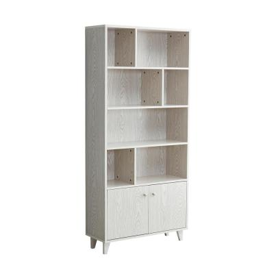 Wilton 69 in. White MDF 5-Shelf Modern Bookcase with Cabinet Door
