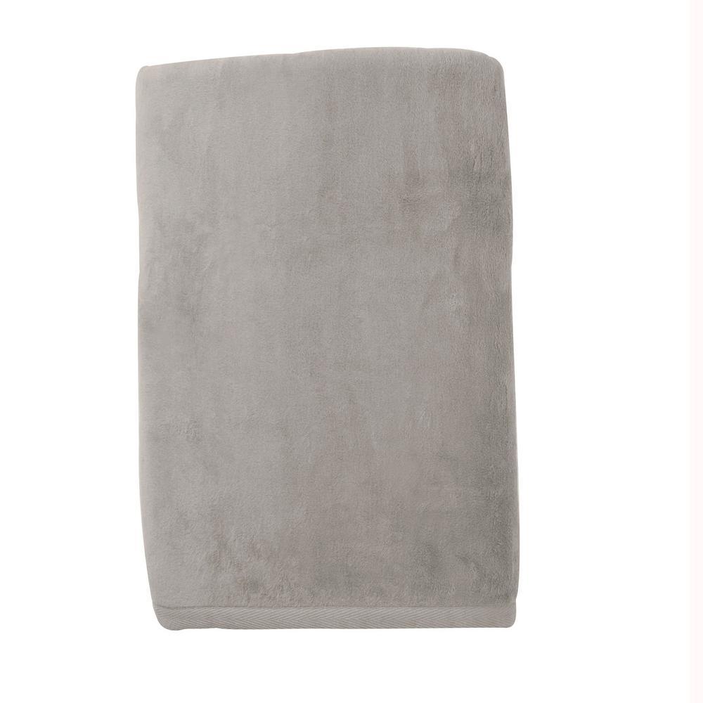Cotton Fleece Light Gray Woven Throw