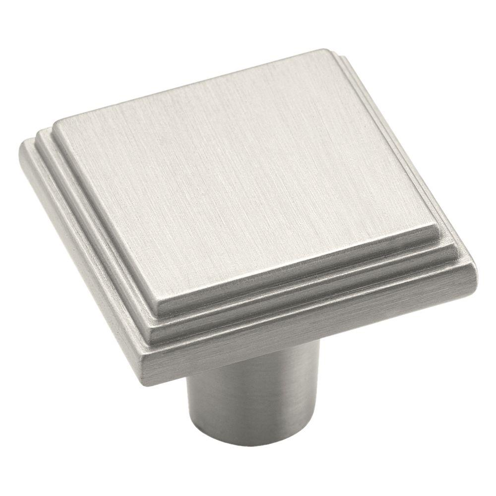Amerock manor 1 in satin nickel square cabinet knob for Square kitchen cabinet knobs
