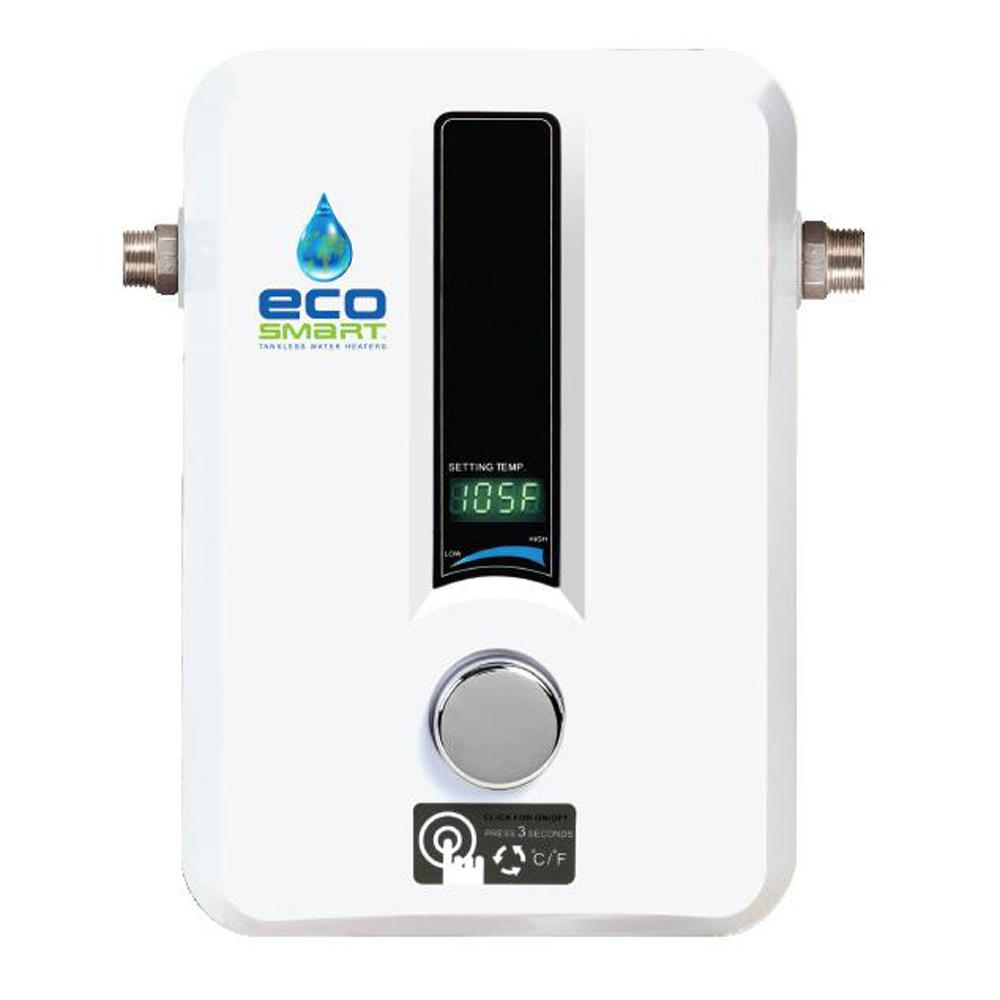 EcoSmart 8 kW Self-Modulating 1.55 GPM Electric Tankless ...