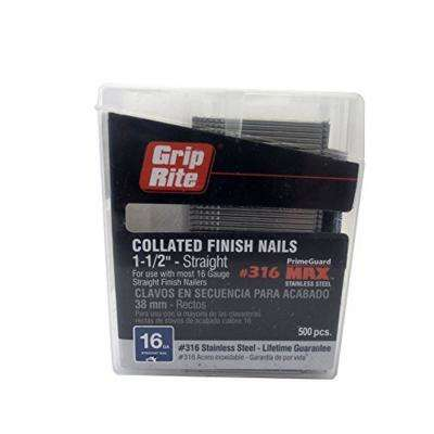 1-1/2 in. 16-Gauge 316 Stainless Steel Finish Nails (500 per Box)