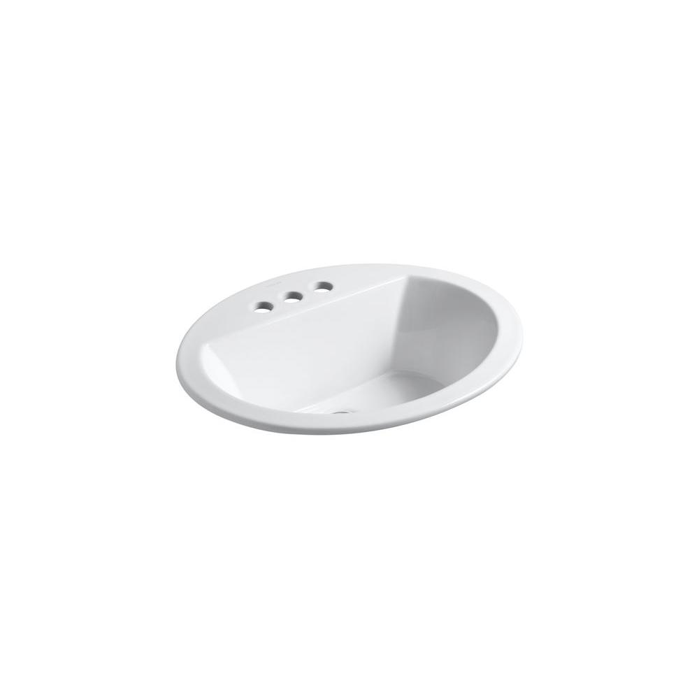 KOHLER Bryant Drop-In Vitreous China Bathroom Sink in White with Overflow Drain