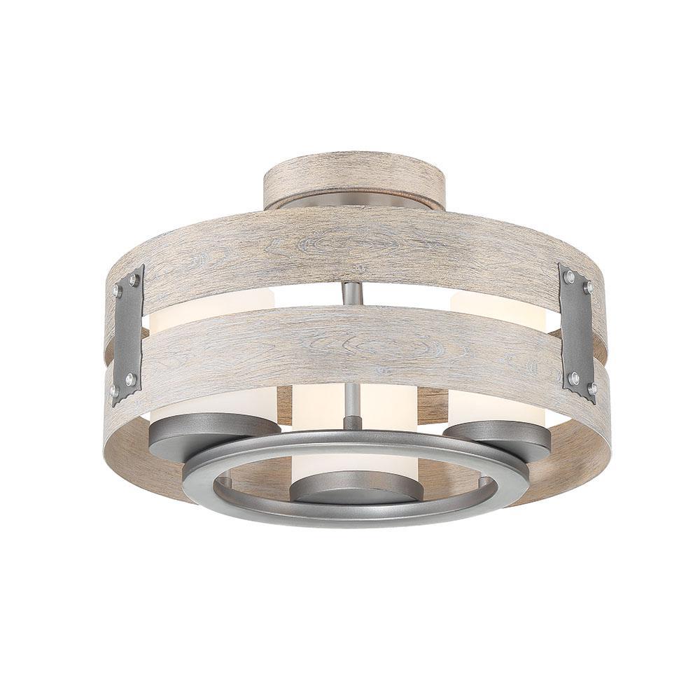 3-Light Grey Clear Glass Semi-Flushmount and Pendant