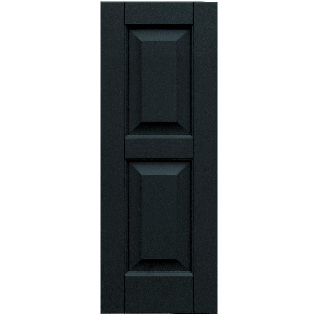 Winworks Wood Composite 12 in. x 32 in. Raised Panel Shutters Pair #632 Black