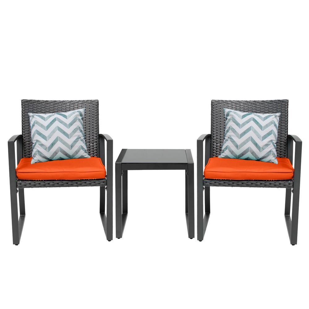 Black Wicker Furniture 2 Chairs, Black Wicker Furniture