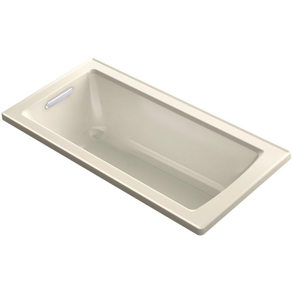 KOHLER Archer 5 ft. Reversible Drain Soaking Tub in Almond