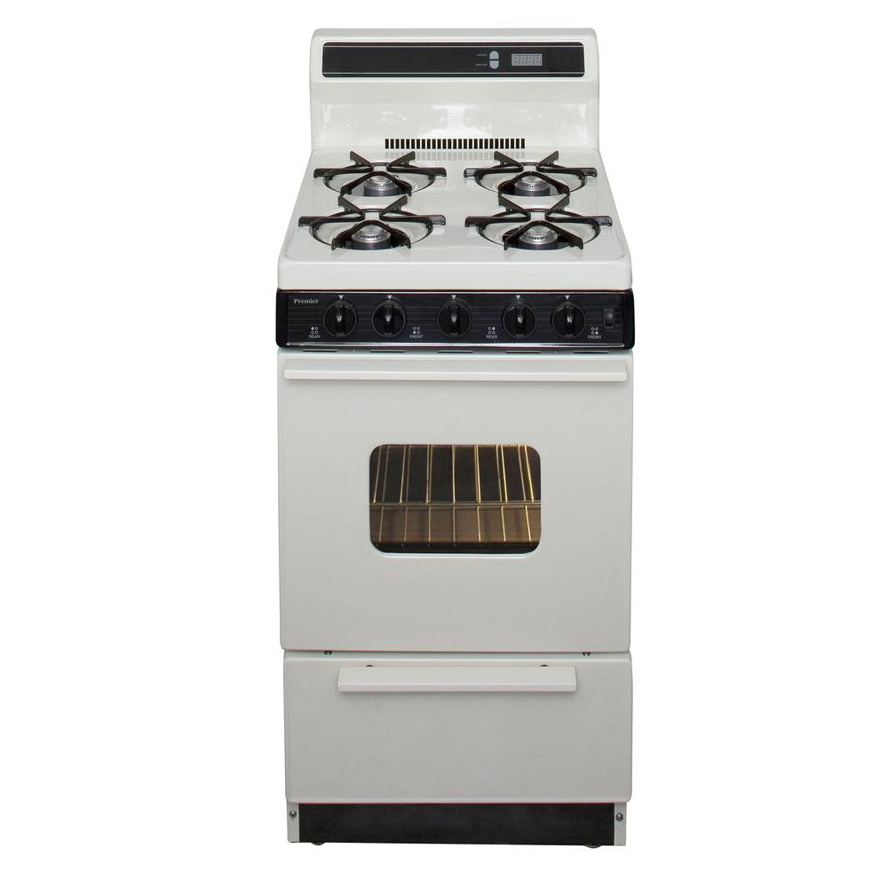 20 in. 2.42 cu. ft. Freestanding Gas Range in Biscuit