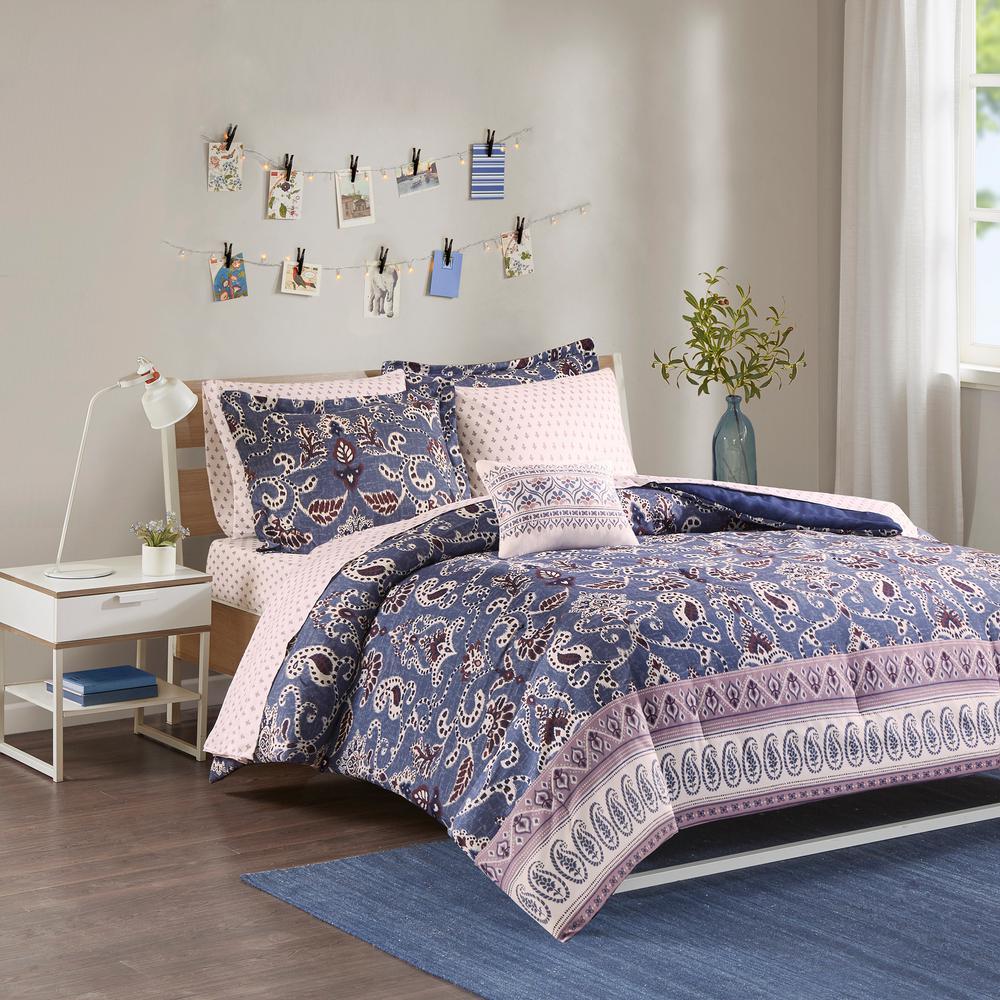 Addison 8-Piece Purple Full Global Comforter Set