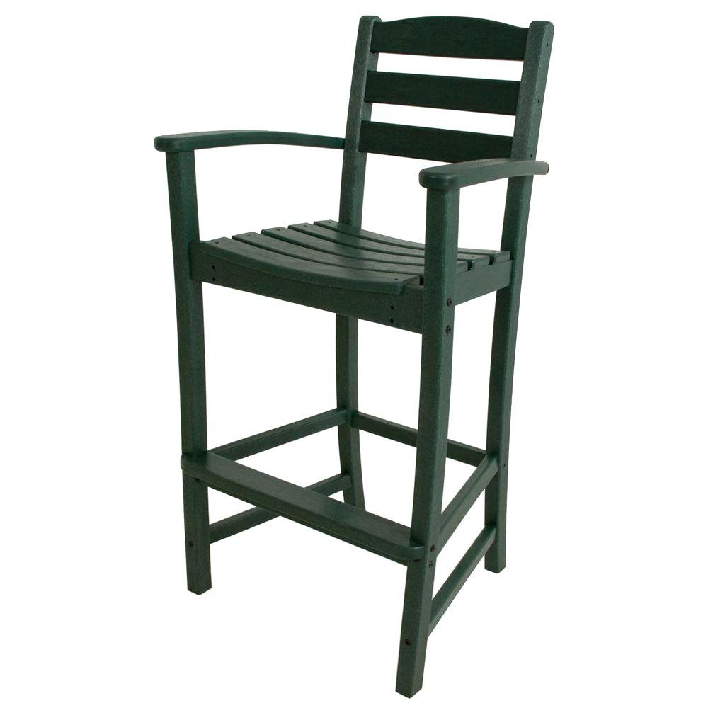 POLYWOOD La Casa Cafe Green Plastic Outdoor Patio Bar Arm Chair